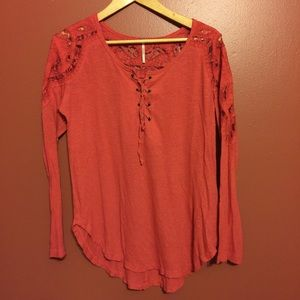 Free People red long sleeve small lace tie up top
